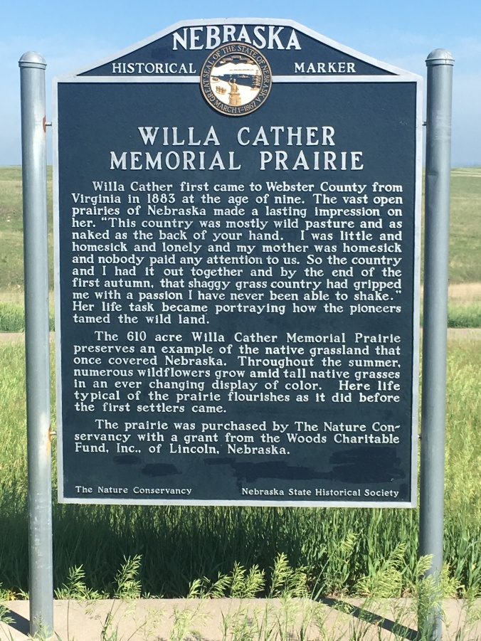 Willa Cather Memorial Prairie sign