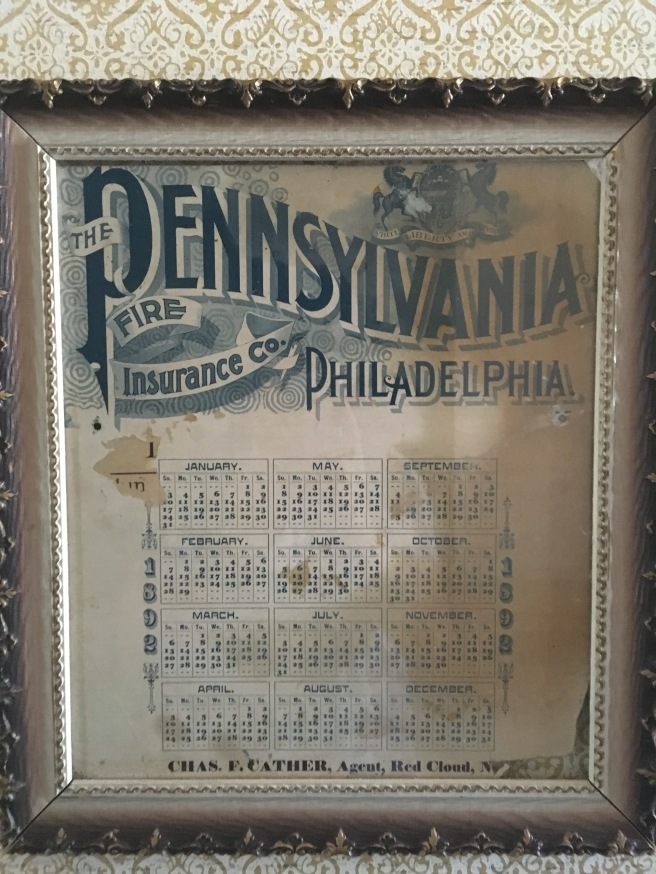 1892 Calendar from office of Charles Cather (Willa's father)