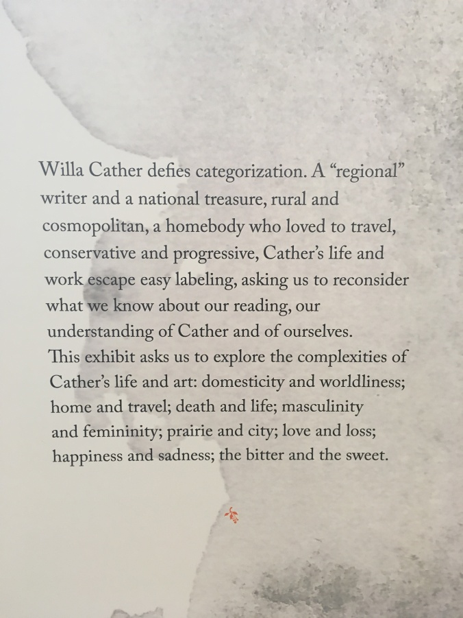 From exhibit in the Willa Cather Center: Red Cloud, NE